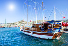 Beautiful yachts at coast Aegean sea. Stock Photo