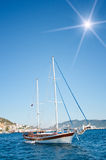 Beautiful yachts at coast Aegean sea. Royalty Free Stock Photography