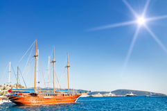Beautiful yachts at coast Aegean sea. Royalty Free Stock Photo