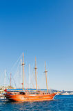 Beautiful yachts at coast Aegean sea. Royalty Free Stock Image