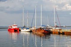 Yachts on the sea moorage stock image