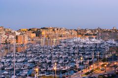 Beautiful yachts in harbour,Three Cities,Malta.  Royalty Free Stock Photo