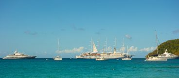 Beautiful yachts moored in the shelter of admiralty bay in the caribbean royalty free stock photography