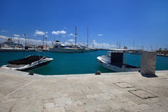 Beautiful yachts in the port of Limassol. View from the promenad Royalty Free Stock Photo