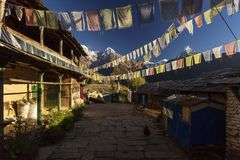 Beautiful yard of the traditional house of Ghandruk village during trekking in Himalaya Mountains, Nepal royalty free stock photography