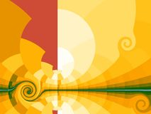 Yellow background with stylized sun Stock Photo