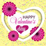 Beautiful yellow background Valentines day with heart and paper flowers and confetti. Vector. Illustration Stock Illustration