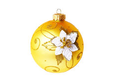 Beautiful yellow ball. Yellow beautiful balloon decorations for Christmas trees Stock Photography