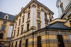 Beautiful yellow building in a city center royalty free stock photo