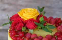 Beautiful yellow cake with raspberry and currant berries and live roses. Beautiful homemade cake with bright yellow cheese cream , decorated with raspberry and Stock Photos