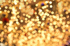 Beautiful yellow Christmas fairy lights in shallow dof. Royalty Free Stock Photo