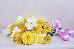 Beautiful  yellow chrysanthemums bouquet Stock Photo