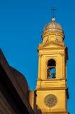 Beautiful Yellow Church Steeple. Steeple of beautiful yellow Catholic Church in Montevideo, Uruguay Stock Photography