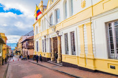 Beautiful yellow facade of typical spanish Royalty Free Stock Photo