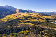 Drone photo - Autumn colors in the Colorado Rocky Mountains, Sawatch Range. Beautiful yellow fall colors of the Colorado Rocky Mountains. Sawatch Range royalty free stock image