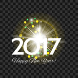 Beautiful yellow fireworks with  greetings  Happy New Year 2017! Royalty Free Stock Photo