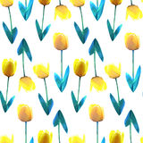 Beautiful yellow flower low poly concept illustration. Tulip seamless pattern. Low poly vector design pattern. Beautiful yellow flower low poly illustration Stock Images