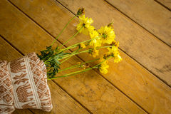 Beautiful yellow flowers wrapped in cotton. Stock Images