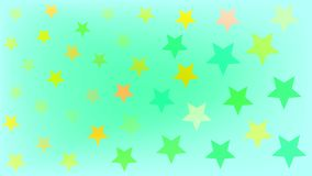 Beautiful yellow green blue stars of different shades on a light blue background vector illustration