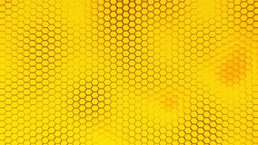Beautiful yellow hexagrid background with slow waves motion. Loop. stock footage