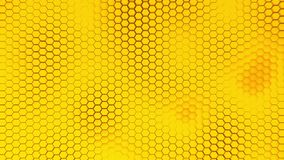 Beautiful yellow hexagrid background with waves. Honeycombs royalty free illustration