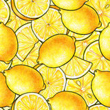 Beautiful yellow lemon fruits. Yellow background. Lemon doodle drawing. Seamless pattern Stock Photography