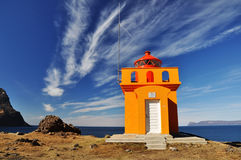 Beautiful yellow lighthouse, Iceland Royalty Free Stock Images
