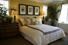 Beautiful Yellow Master Bed Room Royalty Free Stock Image