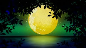Beautiful yellow moon on lake, best loop video background for relaxing and calming