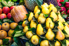 Beautiful yellow pears arrangement Stock Photo