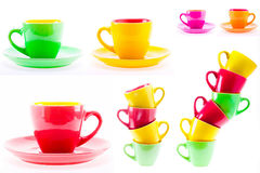 Beautiful Yellow, Red, Green Color Cups, Set, Collage. Set, Collage Yellow, Red, Green Color Cups. Leaning Tower Stack Of Clean Different Cups Isolated On White Stock Photography