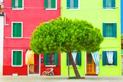 Beautiful yellow and red house with a bicycle and nice green tree. Colorful houses in Burano island near Venice, Italy. Stock Image