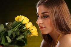 Beautiful yellow rose flowers for young woman Royalty Free Stock Photography