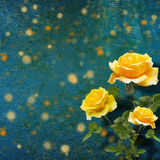 Beautiful yellow rose with green leaves on background Stock Images
