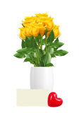 Beautiful yellow roses in vase and greeting card isolated Royalty Free Stock Photo