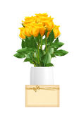Beautiful yellow roses in vase and greeting card isolated Royalty Free Stock Image