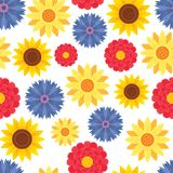 Beautiful yellow sunflower and petal flowers. Vector seamless pattern background. Can be use for wallpaper, fabric, giftwrap, scrapbooking, packaging stock illustration