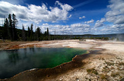 Beautiful Yellowstone Steamy Hot Springs Stock Photo