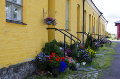 Beautiful yellowy Old stone building in Lappeenranta Royalty Free Stock Photo