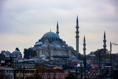 Beautiful Yeni mosque or a New mosque in Istanbul. Beautiful Yeni mosque or a New mosque located on Eminonu coast   in city of Istanbul Royalty Free Stock Photo
