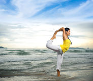 Beautiful yoga on the beach Royalty Free Stock Images