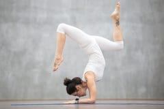 Beautiful Yoga: Handstand with bending legs Stock Photos