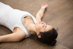 Beautiful Yoga: resting after practice Stock Image