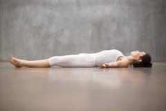 Beautiful Yoga: Shavasana Pose Royalty Free Stock Images