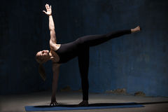 Beautiful Yoga Woman Doing Half Moon Pose Royalty Free Stock Image