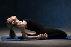 Beautiful Yoga Woman Doing Reclining Hero Pose Stock Photos