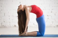 Beautiful Yoga Woman Doing Ustrasana Pose Stock Photo
