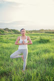 Beautiful Yoga woman in meadows. Royalty Free Stock Images
