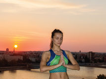 Beautiful Yoga woman in the morning Royalty Free Stock Photography