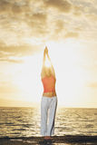 Beautiful Yoga Woman at Sunset Royalty Free Stock Images